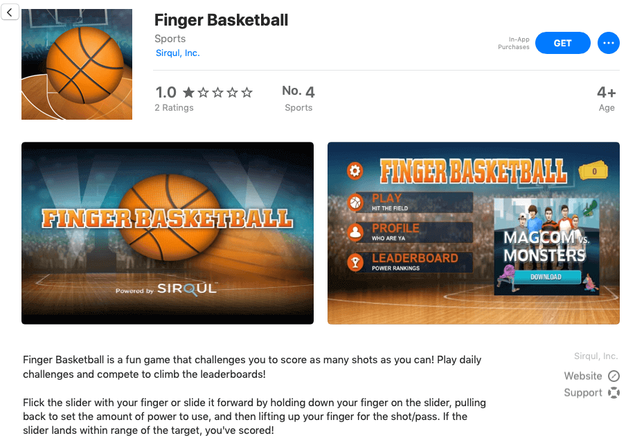 Finger Basketball App Sales page in the app store