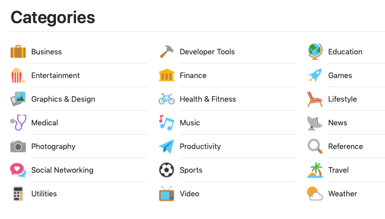 app store categories with icons
